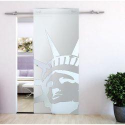 Drzwi szklane przesuwne system PRIMO + wzór matowy piaskowany