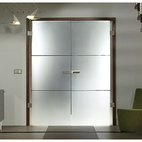 Drzwi szklane otwierane dwuskrzydłowe + wzór piaskowany pasy (na wymiar)