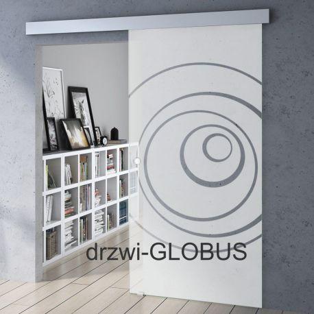 Drzwi szklane przesuwne system OPTIMUM + wzór piaskowany P24