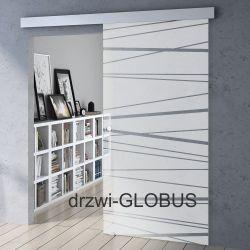 Drzwi szklane przesuwne system OPTIMUM + wzór P62
