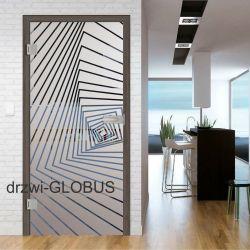 Drzwi szklane otwierane + wzór piaskowany P83 (na wymiar)
