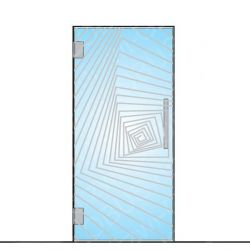 Drzwi szklane wahadłowe wzór piaskowany P83 ( drzwi na wymiar)