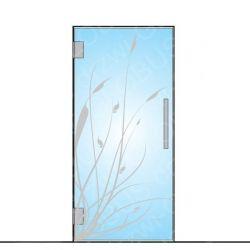 Drzwi szklane wahadłowe wzór piaskowany P46 ( drzwi na wymiar)