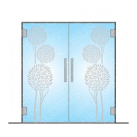 Drzwi szklane dwuskrzydłowe wahadłowe wzór piaskowany P80 na wymiar