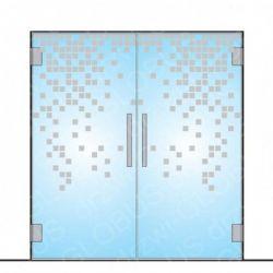 Drzwi szklane dwuskrzydłowe wahadłowe z wzorem P39 na szkle na wymiar