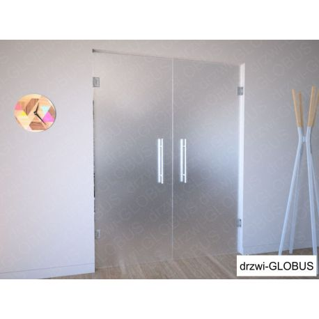 Drzwi szklane dwuskrzydłowe wahadłowe mocowane do ściany (na wymiar)