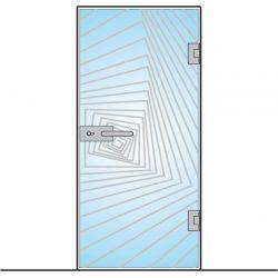 Drzwi szklane bez ościeżnicy - montowane DO ŚCIANY + wzór piaskowany (na wymiar)