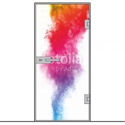 Drzwi szklane bez ościeżnicy - montowane DO ŚCIANY + wzór kolorowy na wymiar