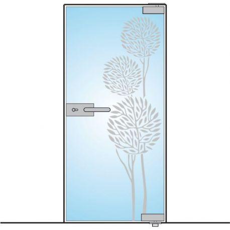 Drzwi szklane bez ościeżnicy - mocowanie GÓRA DÓŁ + wzór piaskowany (na wymiar)