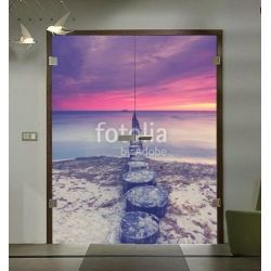 Drzwi szklane otwierane dwuskrzydłowe + wzór kolorowy (na wymiar)