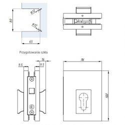 Zamek hakowy - drzwi szklane
