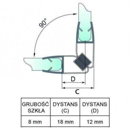 Uszczelka do kabiny prysznicowej - magnetyczna 90s