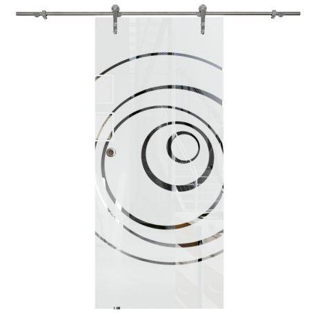 Drzwi szklane przesuwne system RUROWY 1 + wzór piaskowany p24