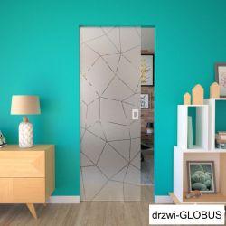 Drzwi szklane przesuwne w KASECIE + wzór piaskowany matowy