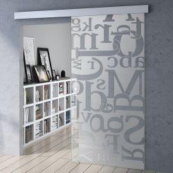 Drzwi szklane przesuwne system OPTIMUM + wzór P52