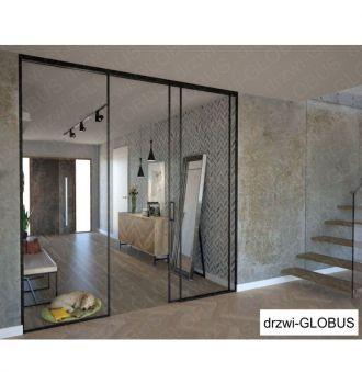 Drzwi szklane LOFT 1 v1 jednoskrzydłowe + części stałe