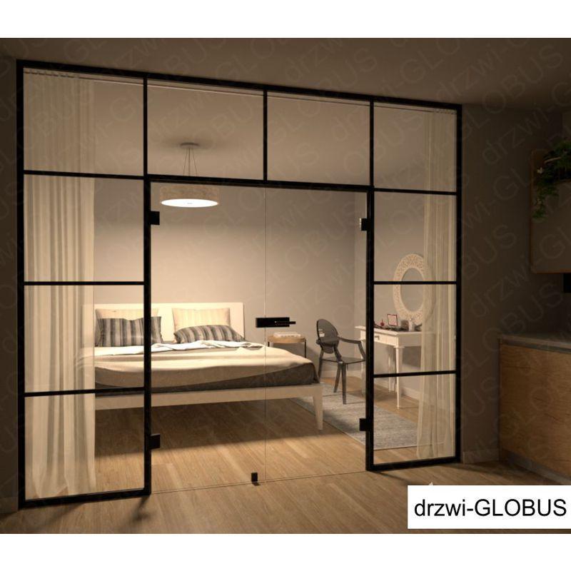 Drzwi szklane otwierane dwuskrzydłowe LOFT w zabudowie (na wymiar)