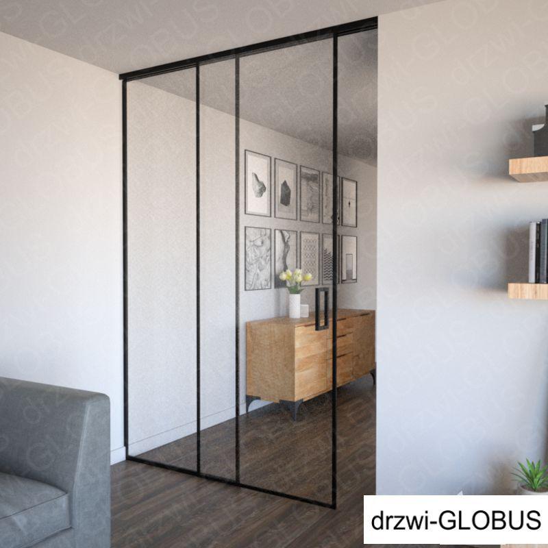 Drzwi szklane LOFT jednoskrzydłowe + część stała