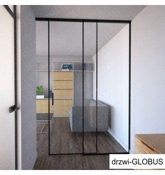Drzwi szklane LOFT 1 v1 jednoskrzydłowe + część stała