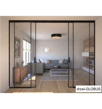Drzwi szklane LOFT 1 v1 dwuskrzydłowe + części stałe