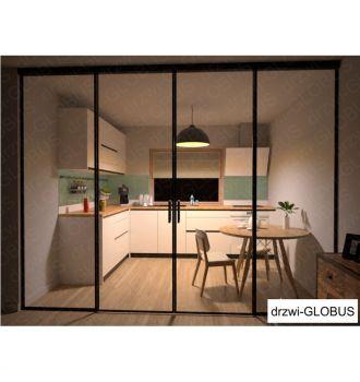 Drzwi szklane LOFT 1 v1 dwuskrzydłowe + części stałe (widok 3)
