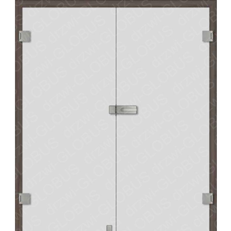 Drzwi szklane otwierane dwuskrzydłowe satynowane (na wymiar)