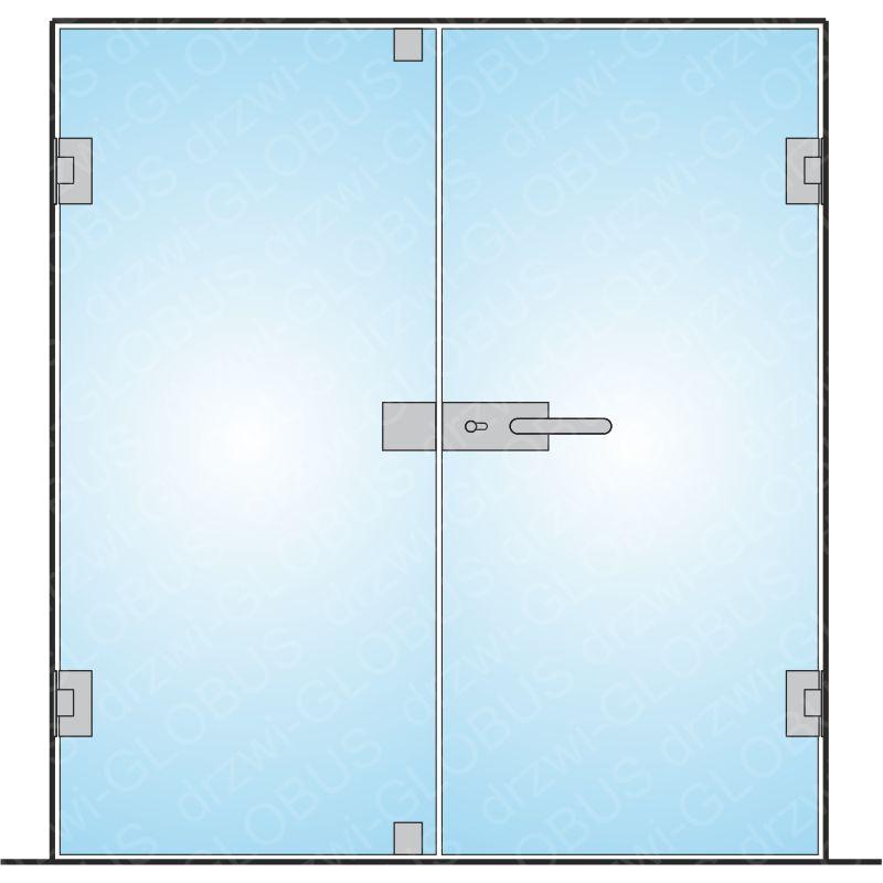 Drzwi szklane otwierane dwuskrzydłowe mocowane do ściany na wymiar