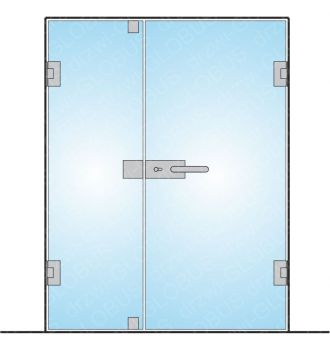 Drzwi szklane otwierane dwuskrzydłowe mocowane do ściany (na wymiar)