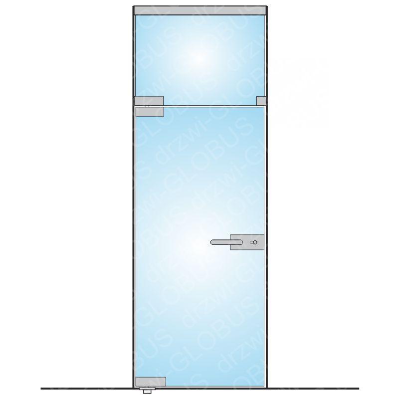 Zabudowa szklana - drzwi otwierane z naświetlem górnym (na wymiar)