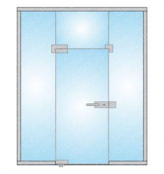 Zabudowa szklana - drzwi otwierane z naświetlem górnym oraz bocznym (na wymiar)