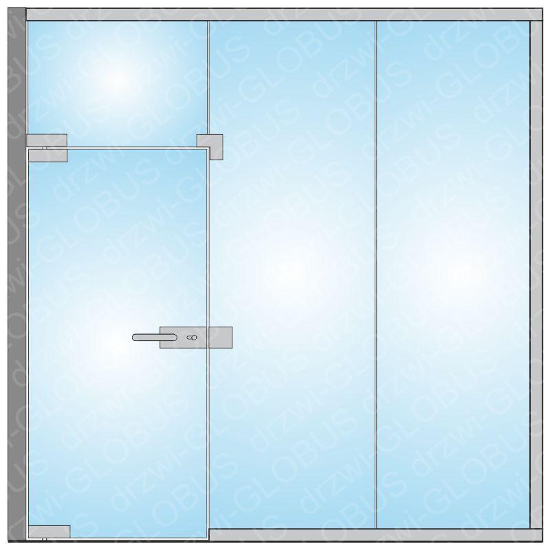 Zabudowa szklana - drzwi otwierane po środku (na wymiar)