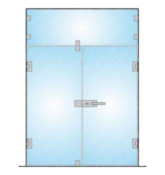 Zabudowa szklana - drzwi otwierane dwuskrzydłowe oraz naświetle (na wymiar)