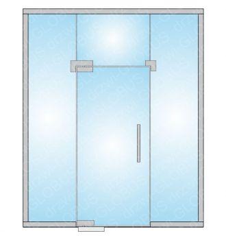Zabudowa szklana - drzwi szklane wahadłowe z doświetlami (na wymiar)