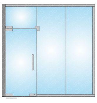 Drzwi szklane wahadłowe w zabudowie całoszklanej (na wymiar)