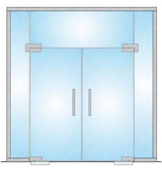 Drzwi szklane wahadłowe dwuskrzydłowe z w zabudowie całoszklanej szerokiej (na wymiar)