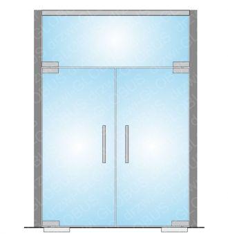 Zabudowa szklana - drzwi szklane wahadłowe dwuskrzydłowe z doświetlem (na wymiar)