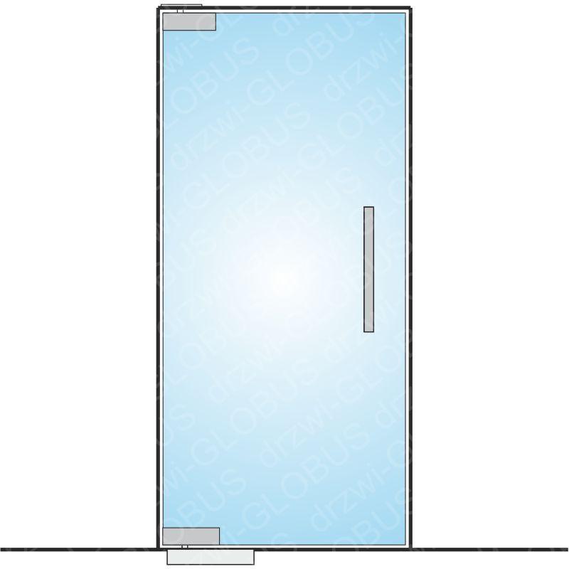Drzwi szklane wahadłowe mocowane GÓRA/DÓŁ samozamykacz wkuwany (na wymiar)