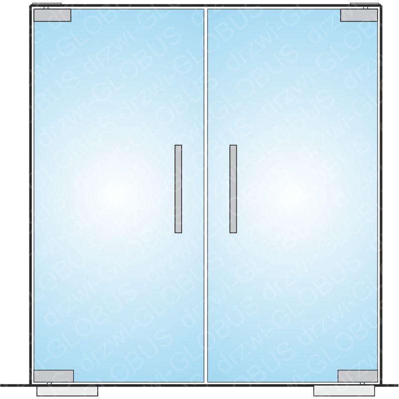 Drzwi szklane wahadłowe dwuskrzydłowe mocowane GÓRA/DÓŁ samozamykacz wkuwany (na wymiar)