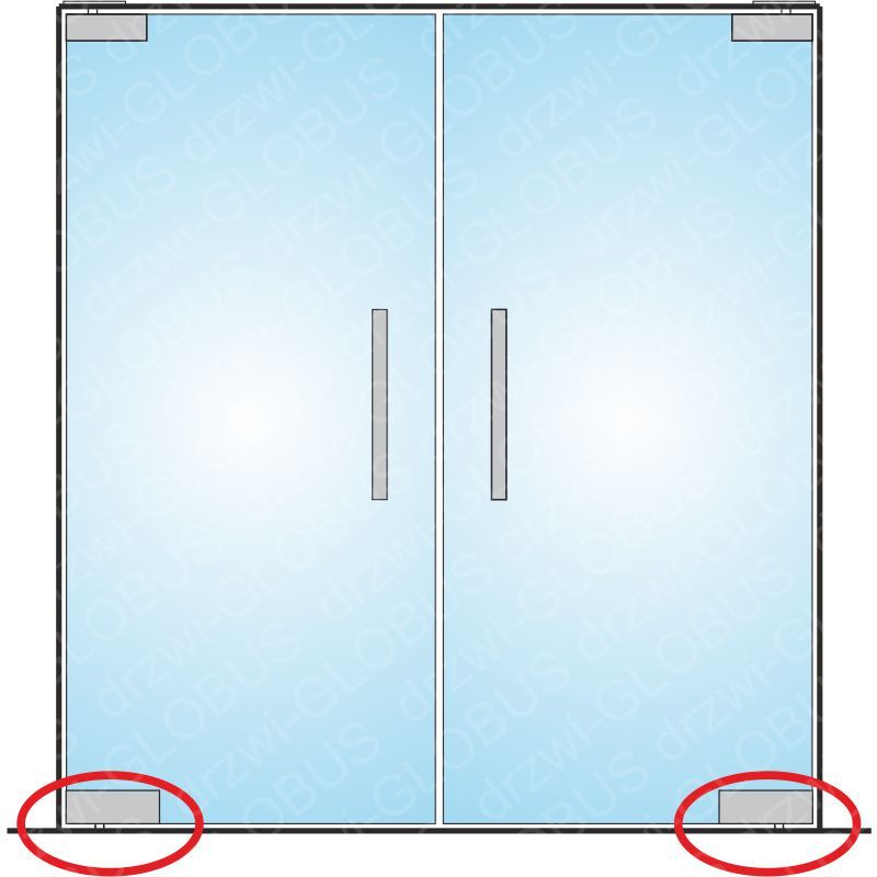 Drzwi szklane dwuskrzydłowe wahadłowe mocowane GÓRA/DÓŁ samozamykacz bez wkuwania na wymiar