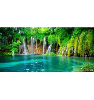 Exotic waterfall and lake landscape of Plitvice Lakes National Park 245461353