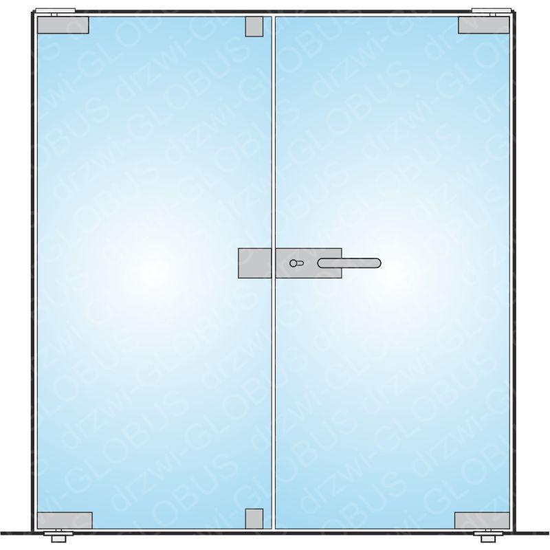 Drzwi szklane otwierane dwuskrzydłowe mocowane GÓRA/DÓŁ na wymiar