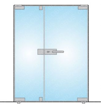 Drzwi dwuskrzydłowe zawiasy GÓRA DÓŁ + zamek z klamką (na wymiar)