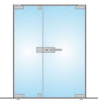 Drzwi szklane otwierane dwuskrzydłowe mocowane GÓRA/DÓŁ (na wymiar)