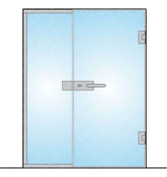 Drzwi szklane z częścią stałą otwierane dwuskrzydłowe mocowane do ściany na wymiar