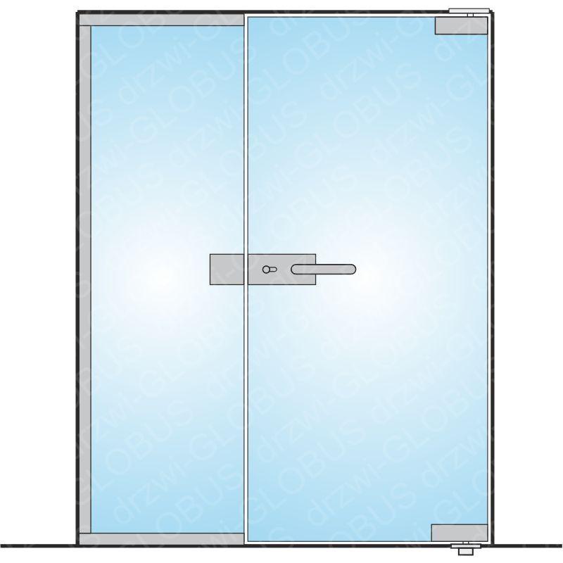 Drzwi szklane z częścią stałą otwierane dwuskrzydłowe mocowane GÓRA/DÓŁ (na wymiar)