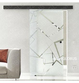 Drzwi szklane przesuwne system OPTIMUM LOFT na wymiar wzór piaskowany kwadraty