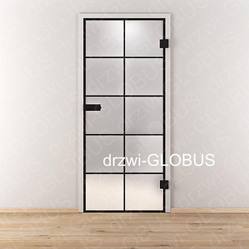 Drzwi szklane otwierane LOFT wzór ramka (na wymiar)