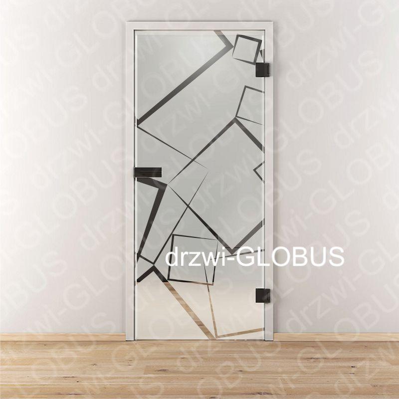 Drzwi szklane otwierane LOFT wzór piaskowany P84 (na wymiar)