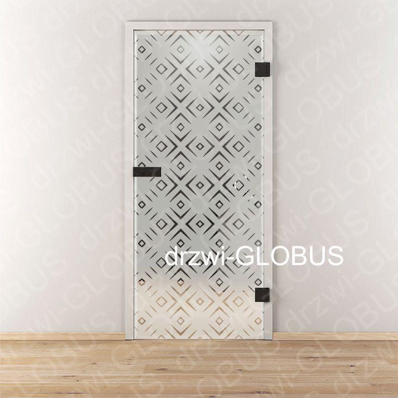 Drzwi szklane otwierane LOFT wzór piaskowany P85 (na wymiar)