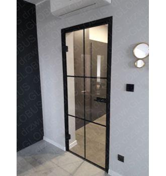 Drzwi szklane otwierane LOFT wzór ramka realizacja 2 (na wymiar)